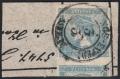 Österreich, 1851, Zeitungsmarkenausgabe 1851, Ferchenbauer Nr. 6 I b, 0,6 Kreuzer blau, Type I b auf Adresszettelstück entwertet mit