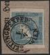 """Österreich, 1851, Zeitungsmarkenausgabe 1851, Ferchenbauer Nr. 6 I b, 0,6 Kreuzer hellblau, Type I b auf kleinem Schleifenstück, entwertet mit """" ZEITUNGS - EXPED: WIEN 4/1 """" mit interessantem Plattenfehler, ATTEST Dr. Ferchenbauer """" KABINETTSTÜCK ! """" - DB"""