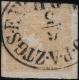 """Österreich, Zeitungsmarkenausgabe 1851, Ferchenbauer Nr. 7, 0,6 Kreuzer gelb, Type I b - """"GELBER MERKUR"""" - voll-; breit- bis überrandig, rechts Randstück entwertet mit """"(PRAG) O.P.A. ZTGS. EXPED: 6 / 5, .. U"""", ATTEST Dr. Ferchenbauer """"KABINETTSTÜCK!"""" DB"""