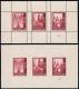 """Österreich, 1948, ANK Nr. 933 P + PU - 935 P + PU, MICHEL Nr. 887 P + PU - 889 P + PU, Salzburger Domserie - gezähnte + ungezähnte Zusammendruckproben in Braunkarmin, postfrisch, ATTEST Soecknick """"echt und einwandfrei"""" - TOP-RARITÄT !! - DB VF2430"""