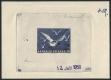 """Österreich, 1950, ANK Nr. 969, MICHEL Nr. 956 PH, Flugpostausgabe: Heimische Vogelwelt - Vögel - 2 Schilling als Phasendruck 4. Phase ( Endphase ) in blau auf gummiertem Papier mit Datum vom 12. Juli 1950 - ATTEST Soecknick """"echt und einwandfrei"""" - DB M"""