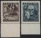 Österreich, 1946, ANK Nr. (13) + (14), MICHEL Nr. VI + VII, Nicht verausgabte Serie Blitz Totenmaske bzw. Blitz Totenkopf einheitlich vom unteren Bogenrand, postfrisch, ATTEST Soecknick