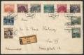 Österreich, 1929, Freimarkenausgabe: Landschaftsbilder, großes Format - ERSTTAG - alle 10 verausgabten Werte vom 4.11.1929 auf REKO-BRIEF mit Stempel 1 WIEN 1 -4.XI.29-12 *4e* - TOP-RARITÄT - NUR 2 STÜCK BEKANNT !! - DB