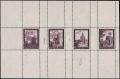 """Österreich, 1947, ANK Nr. 820 P II + 821 P II + 822 P II + 826 P II, Flugpostausgabe 1947 - 50 Gr. + 1 S + 2 S + 10 S als Probedrucke in Dunkelviolettbraun im gezähnten Zusammendruck-Kleinbogen, postfrisch, ATTEST Soecknick """"echt und einwandfrei"""", DB"""