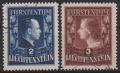 Fürstentum Liechtenstein, Michel Nr. 304 A - 305 A, Freimarken: Fürstenpaar in der billigeren Zähnung Lz. 12 ½ : 12, gestempelt, DB