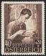 """Österreich, 1949, NICHT VERAUSGABTE BRIEFMARKE DER GEPLANTEN SERIE """"Schulen und Bildungsstätten"""" - 40 Groschen + 20 Groschen """"Gewerbeschule"""", gummiert, TOP - RARITÄT !!, DB"""