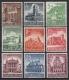 """Michel Nr. 751 - 759, ANK Nr. 751 - 759, Winterhilfswerk """"Historische Bauten"""", postfrisch"""