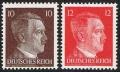 Michel Nr. 826 - 827, ANK Nr. 826 - 827, Freimarkenausgabe: Adolf Hitler, Ergänzungswerte 10 Pfg. + 12 Pfg. im Buchdruck, postfrisch