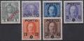 Porto Nr. 58 - 63, Aushilfsausgabe ( Freimarken ) mit Aufdruck PORTO, postfrisch