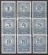 Porto Nr. 84 x - 92 x, Kronenwerte Hochformat, weißes Papier, postfrisch