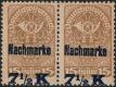 """Österreich, 1921, ANK Porto Nr. 102, MICHEL Porto Nr. 102, Aushilfsausgabe Freimarke Nr. 262 y mit schwarz-blauem Aufdruck im waagrechten Paar MIT STARK VERSCHOBENEM AUFDRUCK postfrisch, ATTEST Soecknick """"echt und einwandfrei"""", EXTREM SELTEN !! DB WE-GRA"""