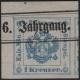 """Österreich, Zeitungsstempelmarken-Ausgabe 1877, Nr. 5 II = sogenannte """" Spitze 1 """", 1 Kreuzer, blau, linkes oberes ECKRANDSTÜCK 4,5 mm : 6 mm MIT NADELPUNKT, mit Zeitungsüberdruck entwertet, BEFUND Dr. Ferchenbauer """" erlesenes PRACHTSTÜCK ! """" - DB M632"""