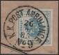 """Österreich, Zeitungsstempelmarken-Ausgabe 1877, Nr. 5 I, 1 Kreuzer entwertet mit kompletten Abschlag """" K. K. POST AMBULANCE No 9  26 / 7 / 85 """" auf Zeitungsstück mit weiteren Besonderheiten - AUSNAHMESTÜCK - DB M626"""